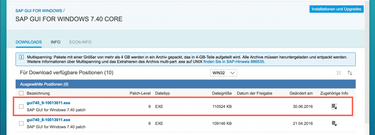 SAP GUI for Windows 740 - Patchlevel 9 veröffentlicht