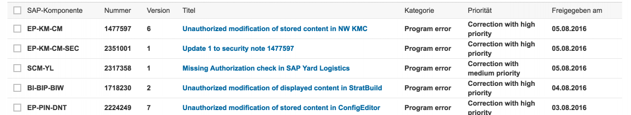 SAP Security Notes - KW 31 / 2016 (01.08 bis 08.2016)