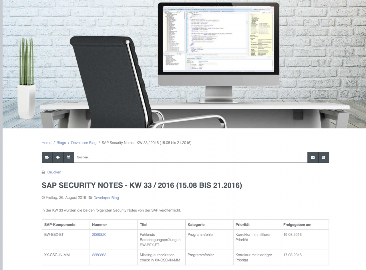SAP Security Notes - KW 33 / 2016 (15.08 bis 21.08.2016)