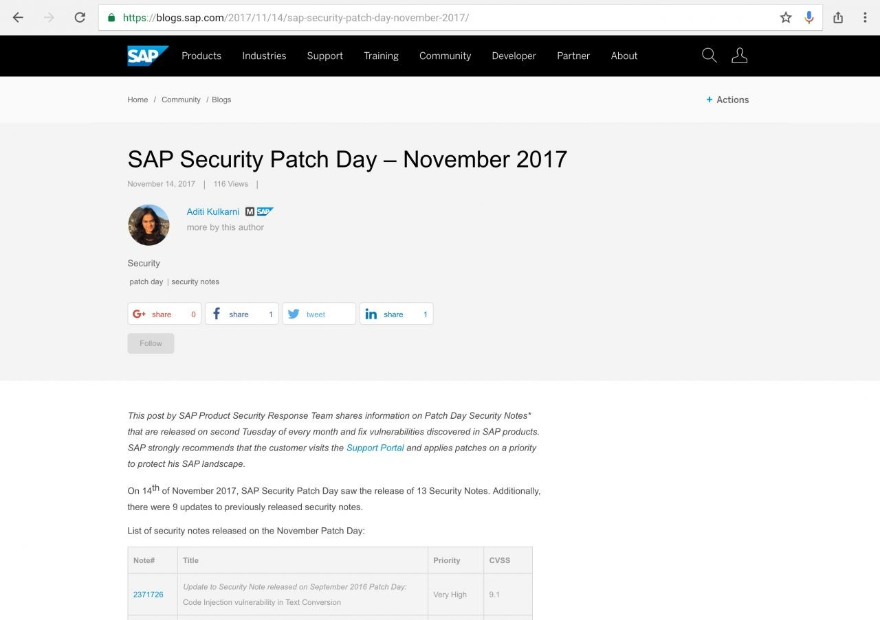 SAP Security Patch Day – November 2017